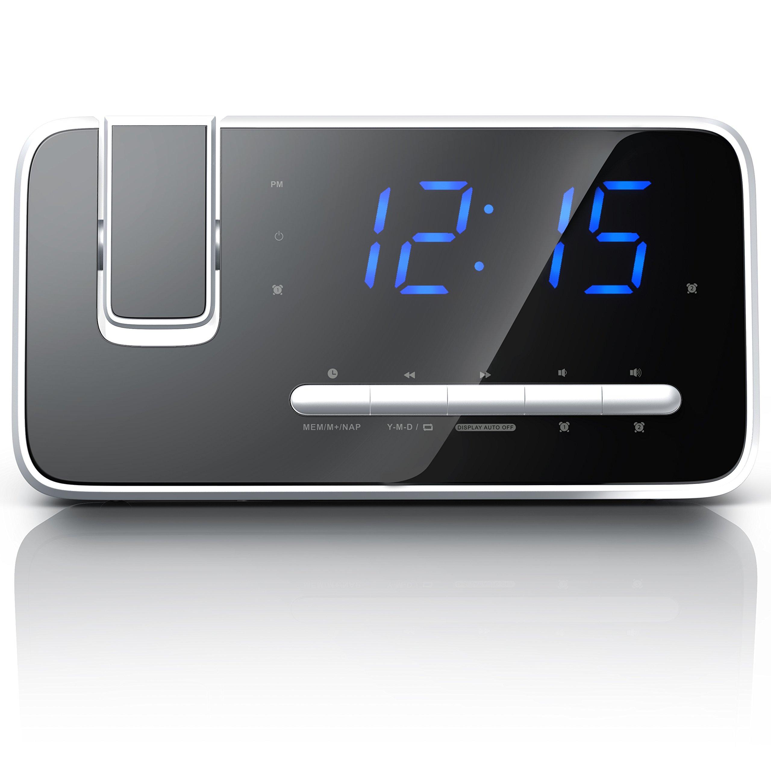 Brandson - Despertador Radio Digital | Despertador con Proyector | Reloj con Gran Pantalla | Proyección