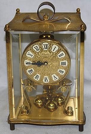 KUNDO Kieninger Obergfell Brass Glass Mantle Anniversary Clock (Made in Germany)