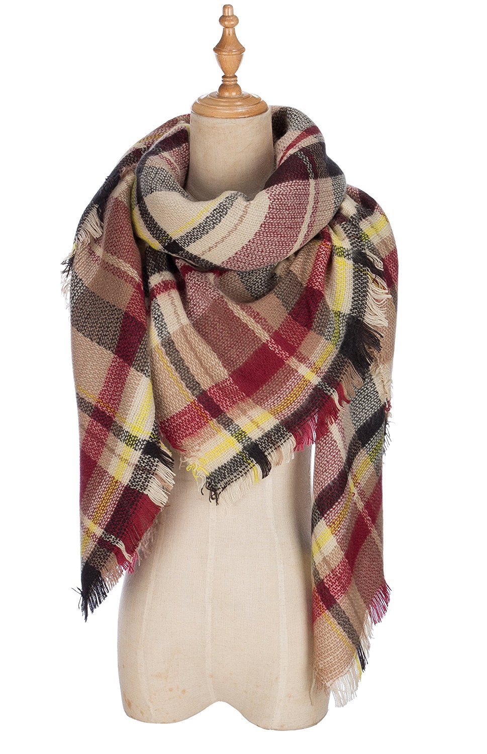 Cozy Tartan Blanket Scarf Wrap Shawl Neck Stole Warm Plaid Checked Pashmina Black Claret