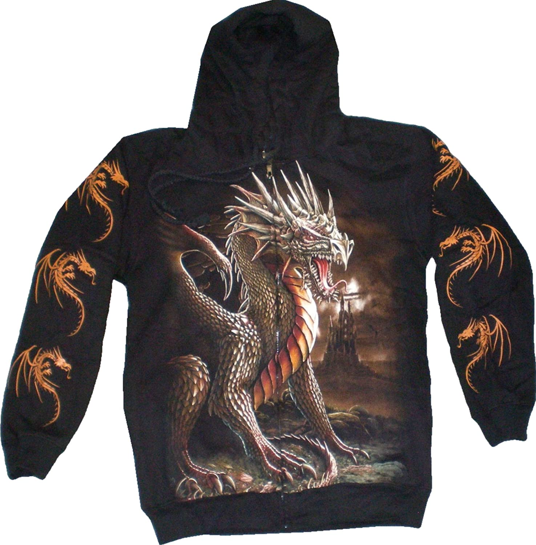 Evil Wear Herren Damen Sweatshirt schwarz mit Motiv Drache Kapuzen Pullover S-XL  6
