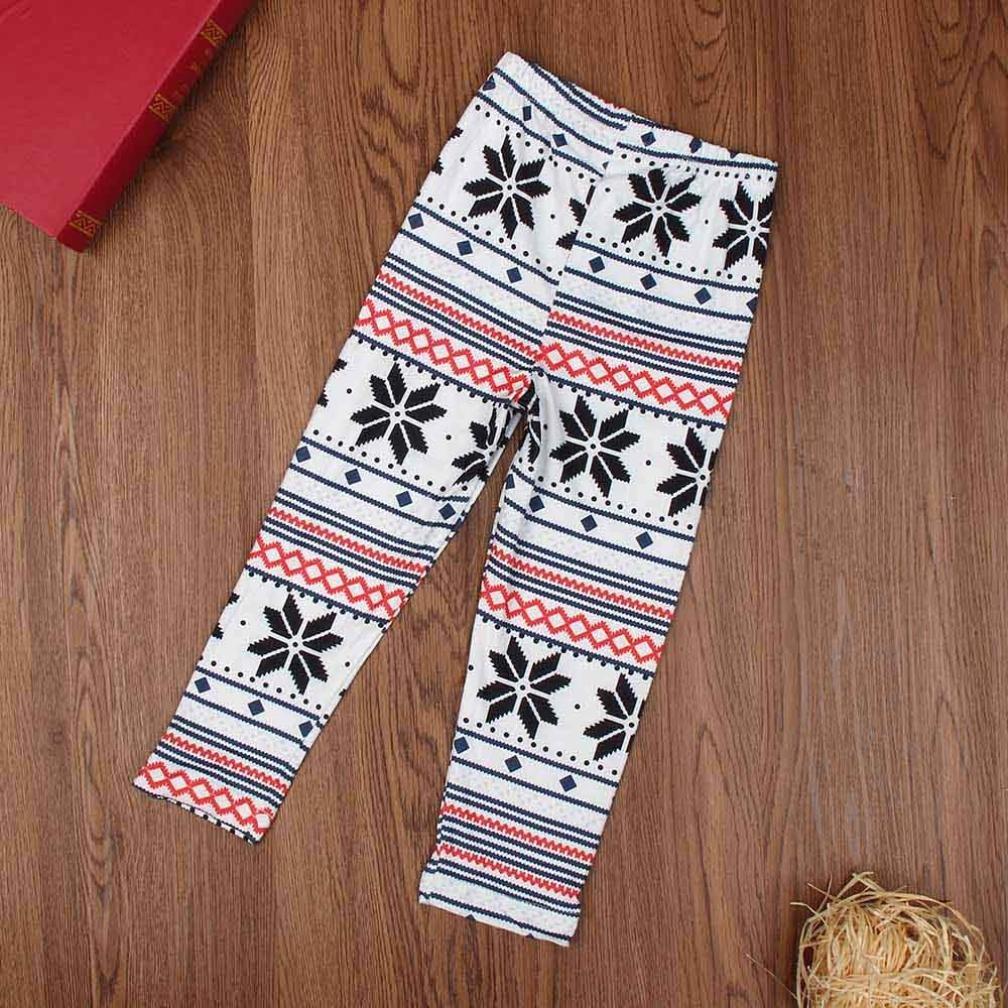 ANBOO Christmas Kids Child Snowflake Reindeer Leggings Skinny Pencil Pant