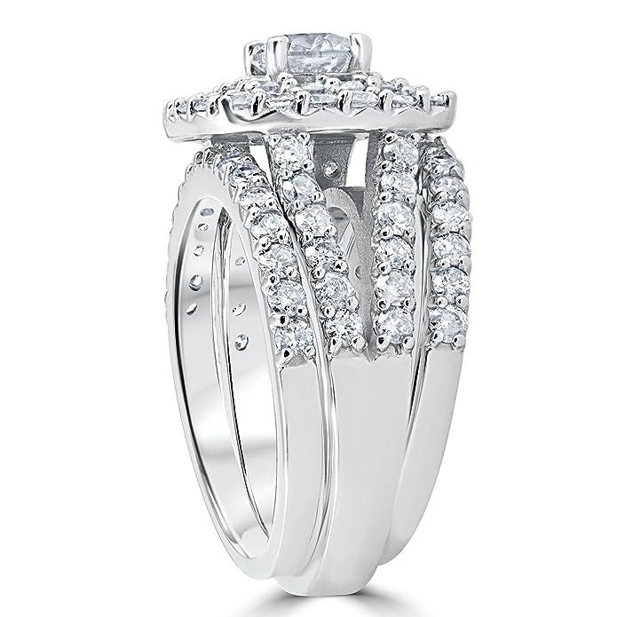 Amazon.com: Juego de anillos de compromiso y boda con ...