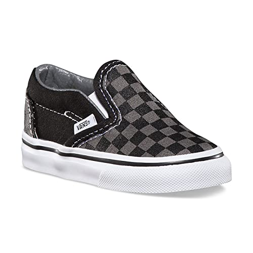 57a1a441dd2e4 Vans Toddlers Classic Slip-On (Checkerboard) Black/Pewter VN000LYHBPJ Toddler  Size 2: Amazon.co.uk: Shoes & Bags