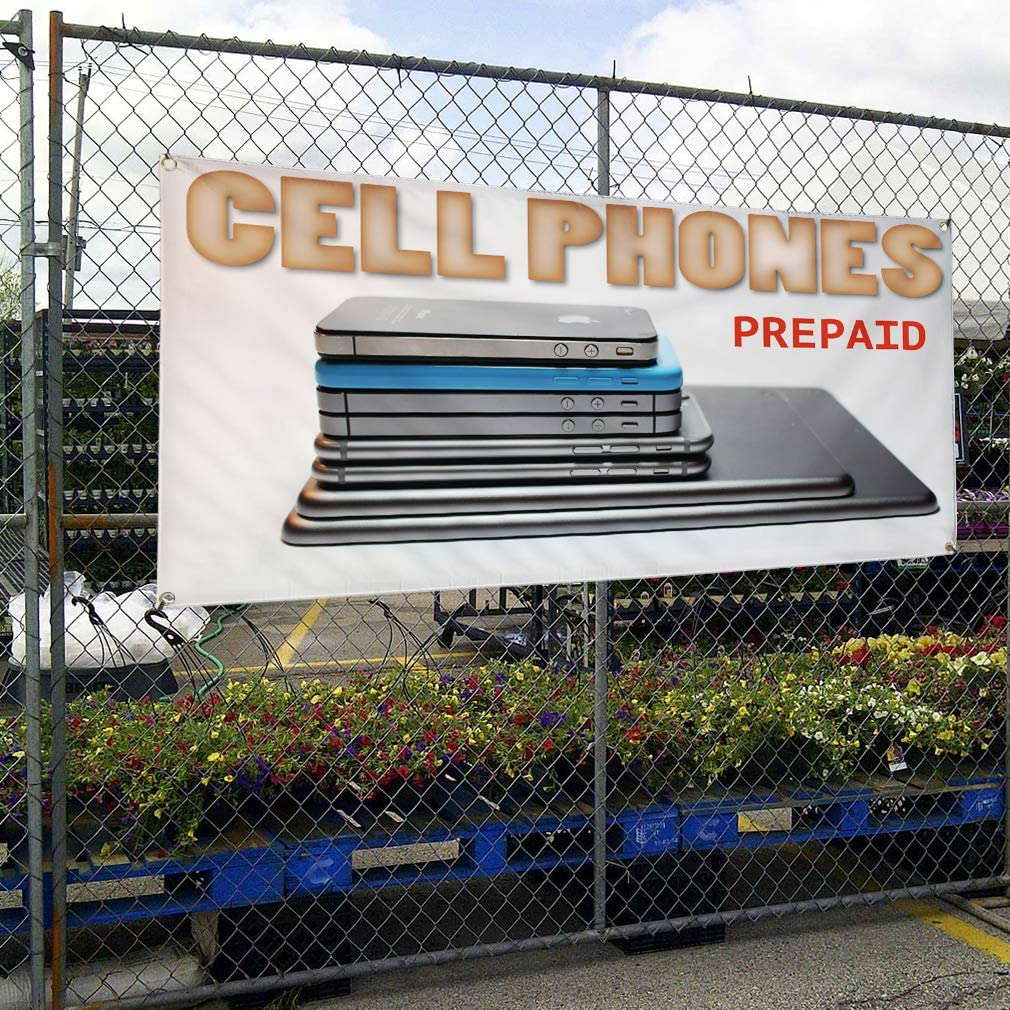 4 Grommets 28inx70in Multiple Sizes Available Set of 2 Vinyl Banner Sign Cell Phone Prepaid Retail Cellphone Repair Marketing Advertising White