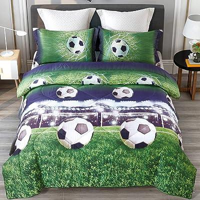 ENJOHOS Special 3D Soccer Bedding Twin Football Comforter Set for Kids Cool Duvet Lightweight Bedroom Decor Bed Set 3PCS, 1 Comforter and 2 Pillow Shams: Home & Kitchen