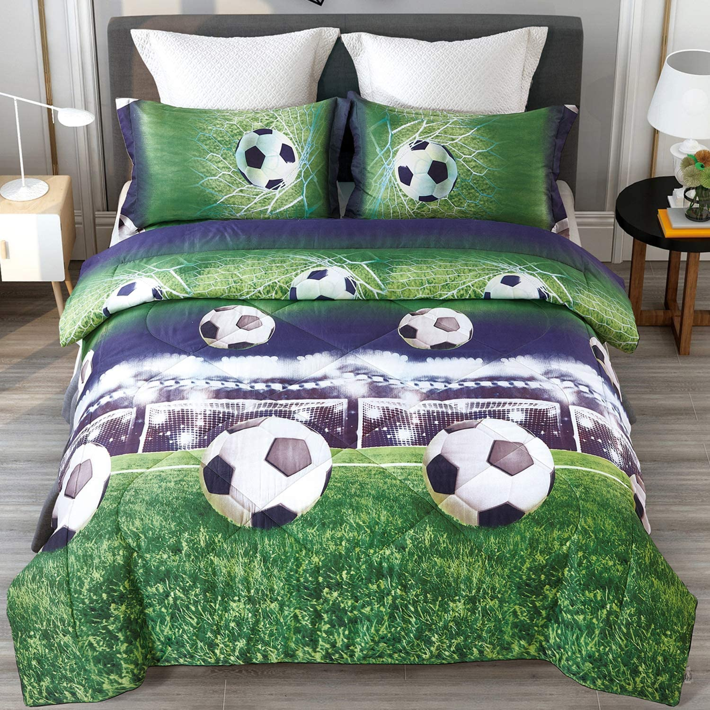 ENJOHOS Special 3D Soccer Bedding Queen Size Football Comforter Set for Kids Cool Duvet Lightweight Bedroom Decor Bed Set 3PCS, 1 Comforter and 2 Pillow Shams