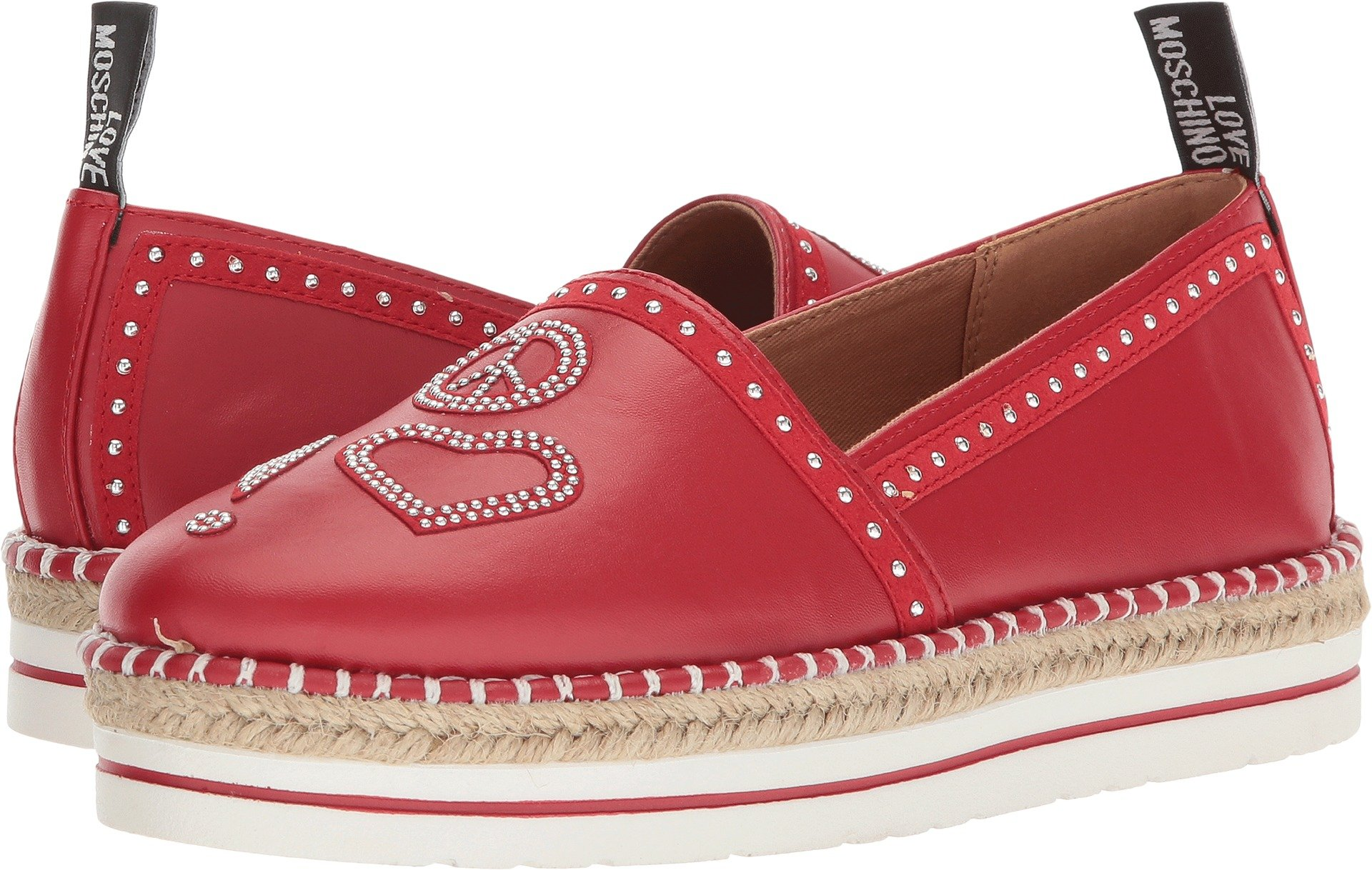 Love Moschino Women's Espadrille w/Studded Detail Red 37 M EU