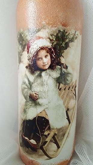 Botella decorativa de cristal Vintage con invierno niña hecho a mano y decorada a mano con decoupage, única Idea de regalo de decoración para el hogar ...