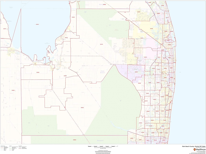 Palm Beach Zip Code Map Amazon.: Palm Beach County, Florida Zip Codes   48