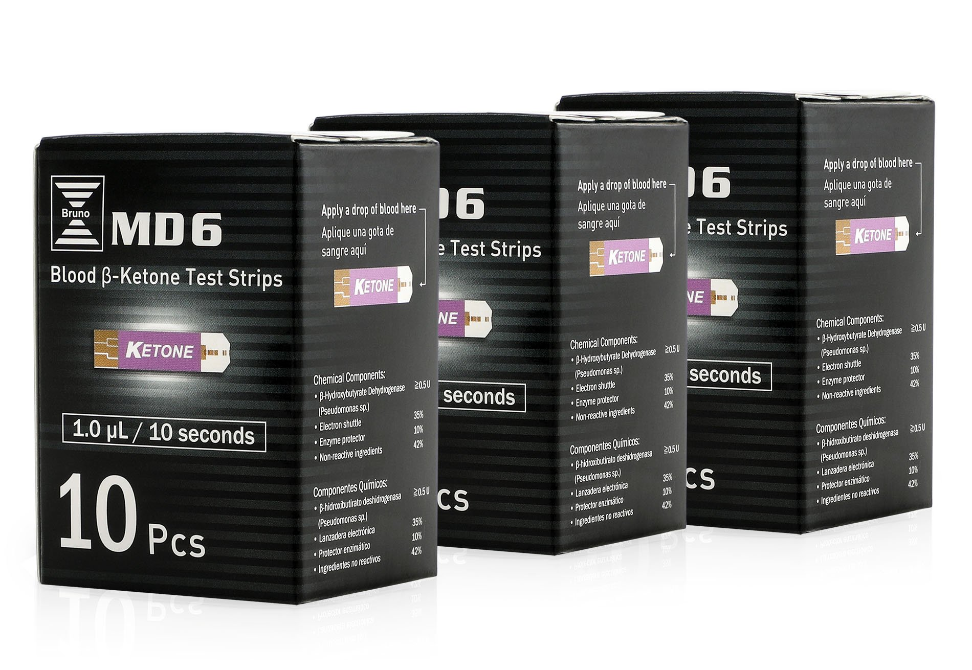 Bruno Pharma MD6 3 Boxes of 10 Ketone Test Strips to Use with Our MD6 Blood Monitoring System | Stay in Ketosis and Get The Best Results with Accurate Keto Counts While Following The Ketogenic Diet by Bruno MD6