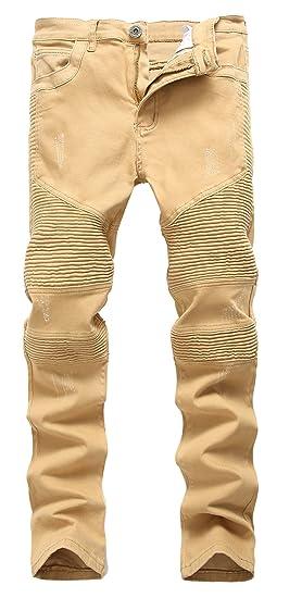 d0c823a44c937 Men  s Khaki Biker Moto Distressed Destroyed Fashion Skinny Slim Fit Jeans  336khaki W28
