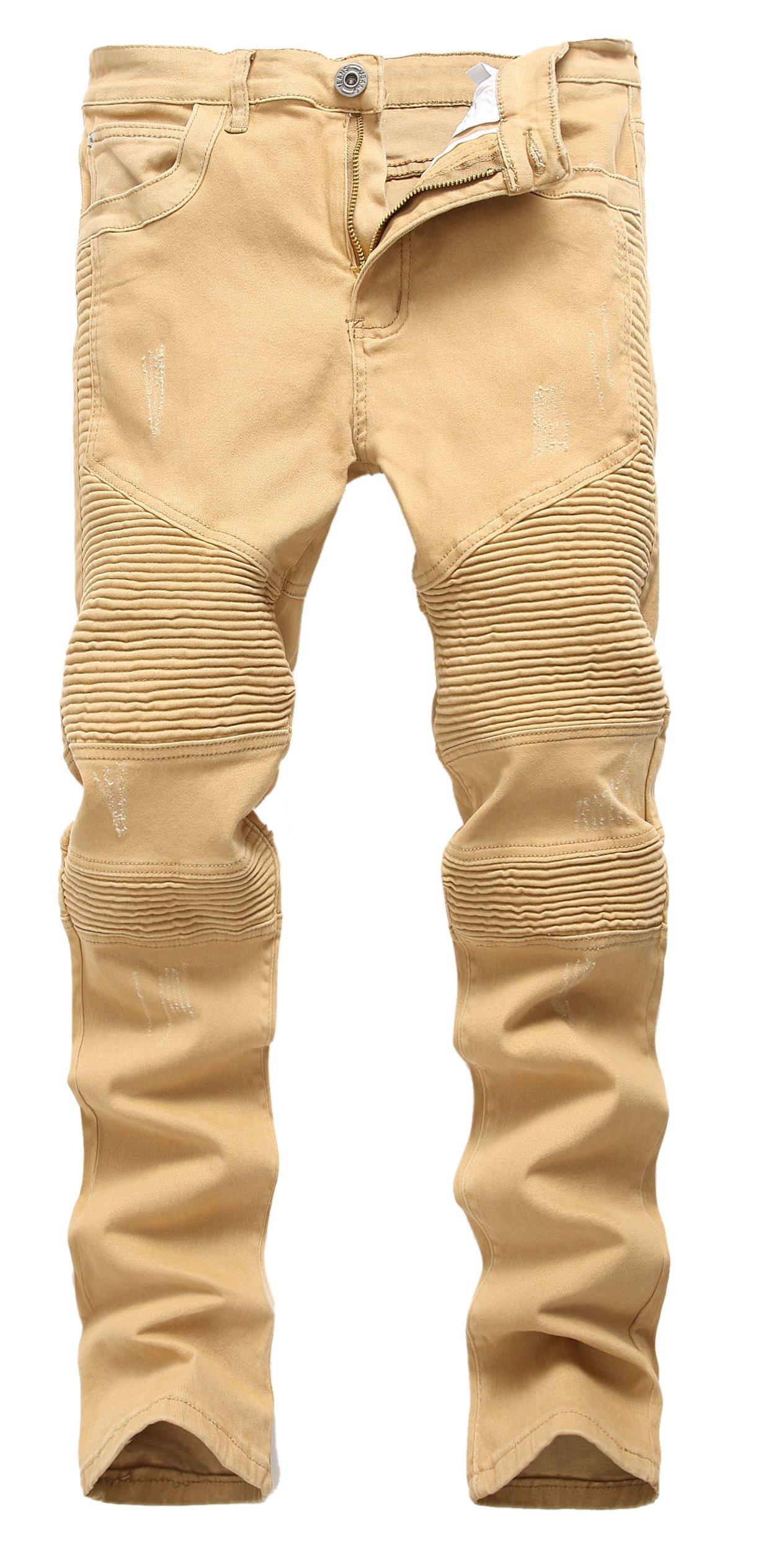 Men 's Khaki Biker Moto Distressed Destroyed Fashion Skinny Slim Fit Jeans 336khaki W34