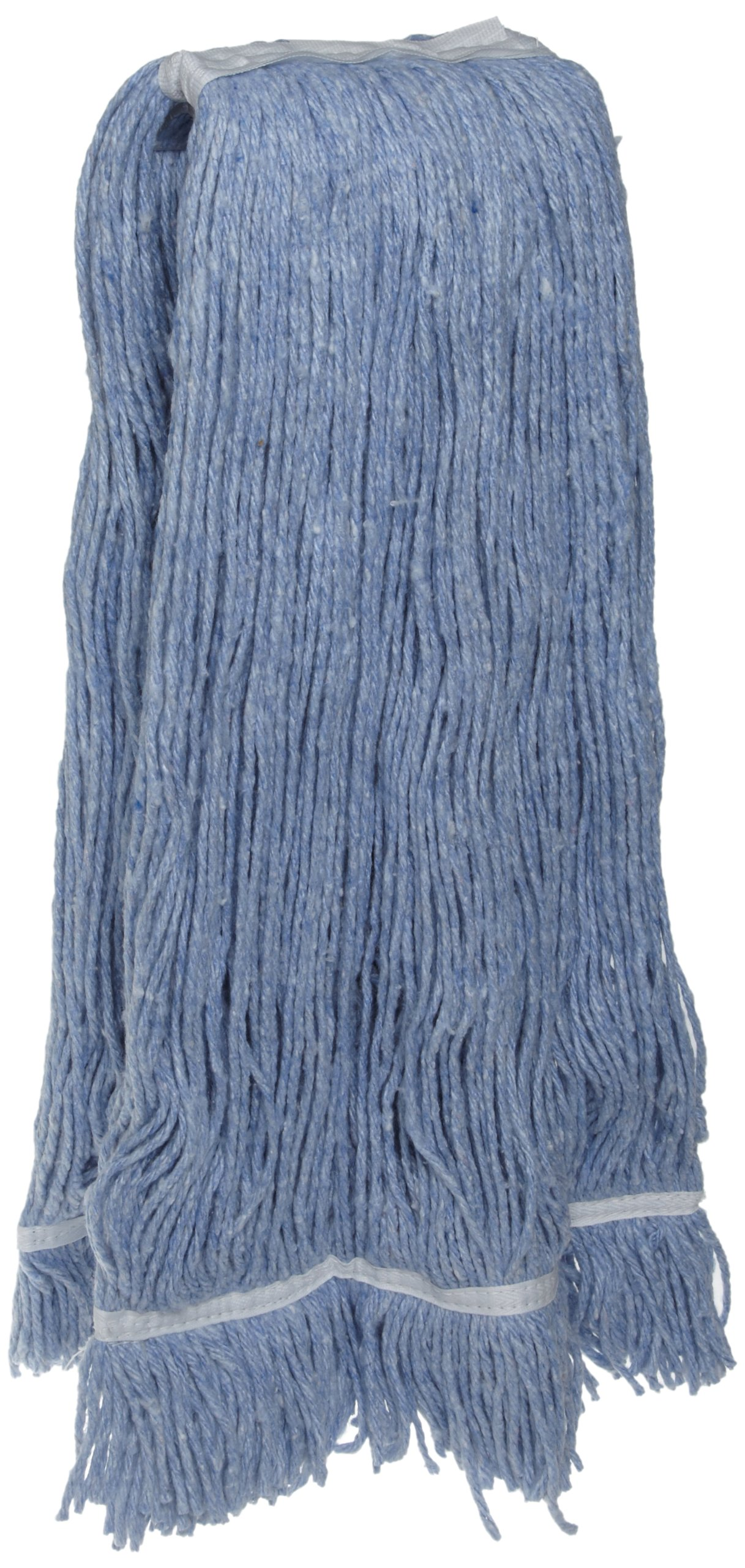 Zephyr 24112 Blendup Blue Blended Natural and Synthetic Fibers 16oz Cut End Wet Mop Head with Fantail (Pack of 12)