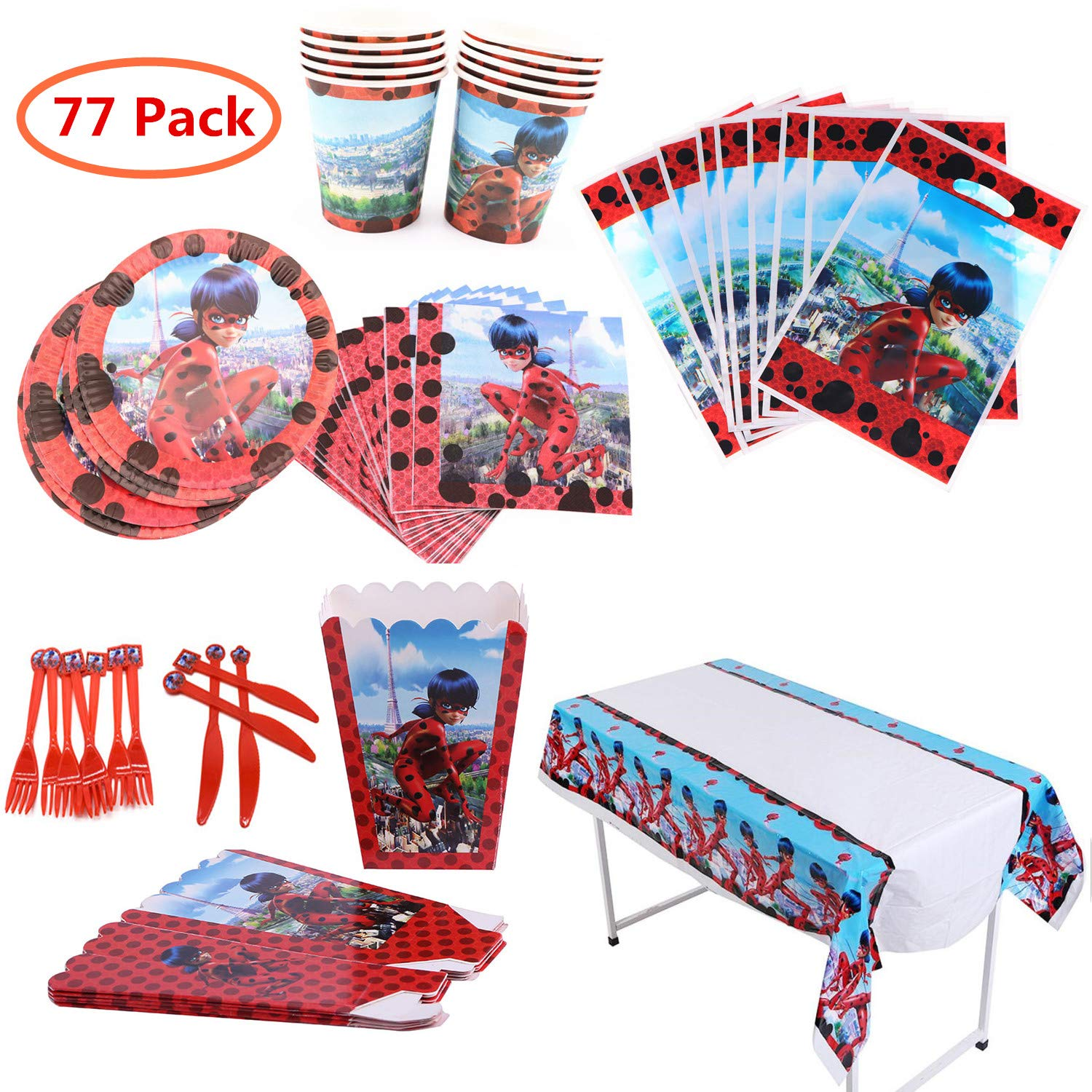 Ladybug PartySupplies Set 77Pcs Complete Birthday Party Decorations Supply Pack for 10 Children Kids by Geenber
