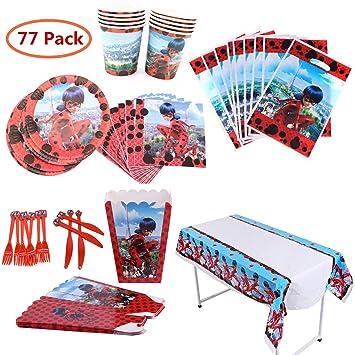 Geenber Miraculous Ladybug Party Supplies Set 77Pcs Paquete Completo de Suministros de Decoraciones para Fiestas de cumpleaños para 10 niños Niños