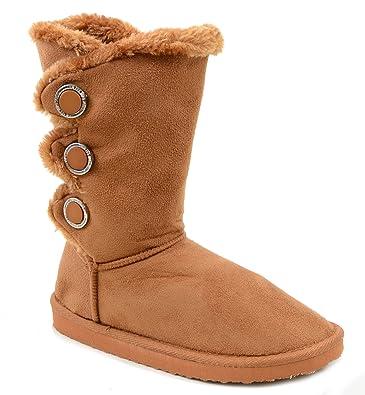 ed14b956b387c Furry Button Flat Black Tan or Brown Vegan Suede Women s Warm Slipper Boots  - Camel