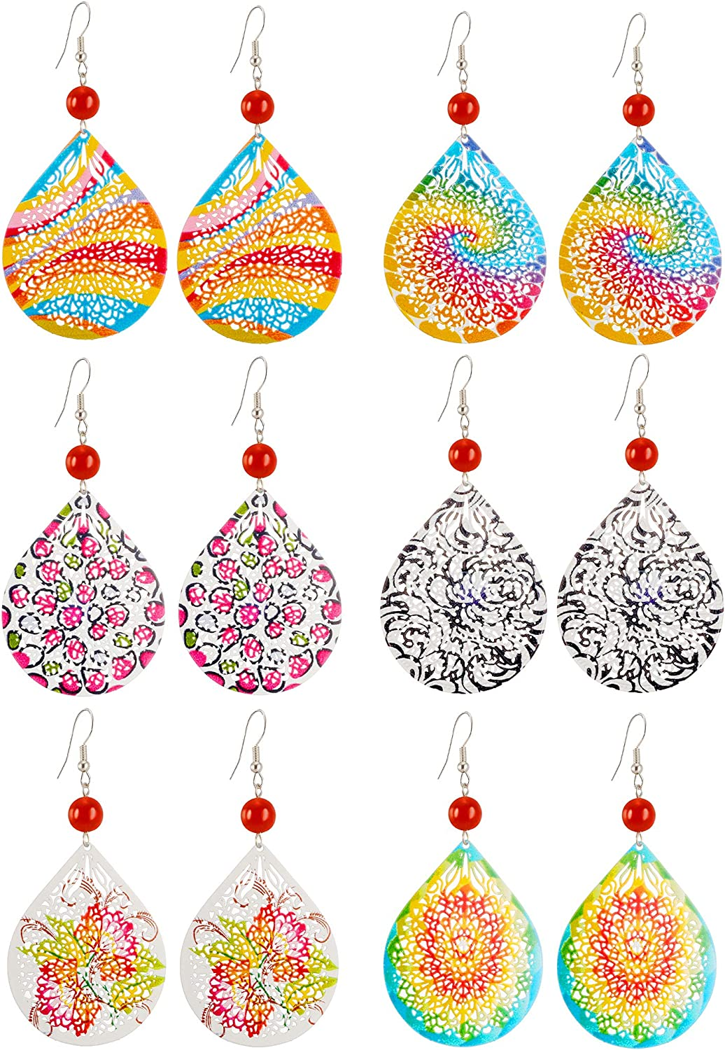 6 Paris Filigree Dangle Earrings for Women Fashion -Metal Hollow Earrings Set Cute Earring for Teens - Statement Earrings with Unique Design Bright Colors