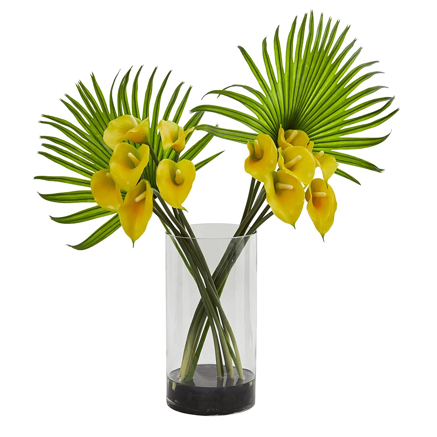 Nearly Natural Calla Lily and Fan Palm Artificial Arrangement in Cylinder Glass Vase 1524-RD