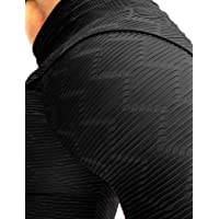 6aaf33364239e3 Women's Ruched Butt Fitness Leggings High Waist Stretchy Honeycomb Texture  Running Tights