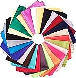 26 Piece Assorted Mens Silk Satin Pocket Square Handkerchief Plain Hanky Set