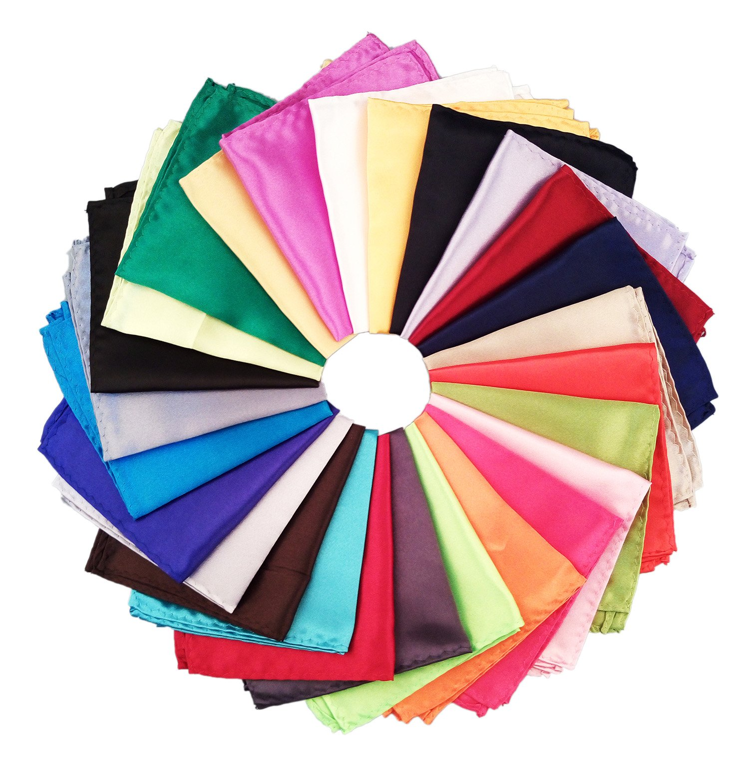 26 Piece Assorted Mens Silk Satin Pocket Square Handkerchief Plain Hanky Set