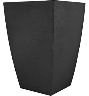 Tusco Products MSQT23BK Modern Square Garden Planter, 23 Inch, Black