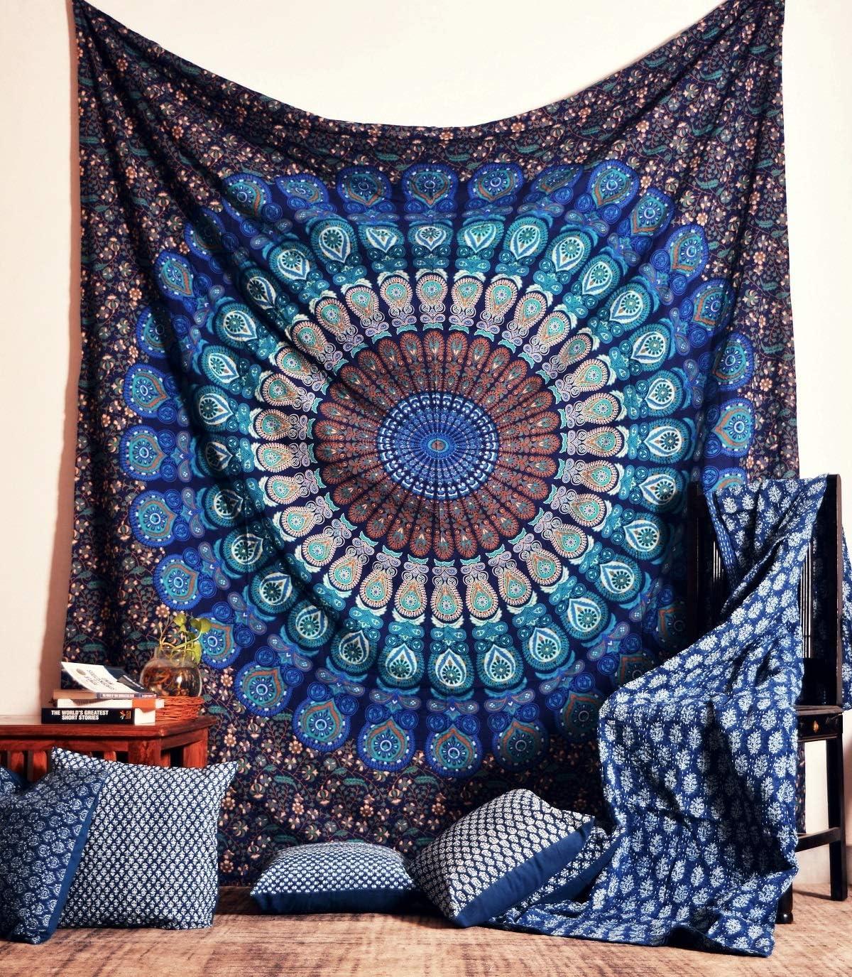 Medium YiaMia Populaire Hippie Mandala Boh/ème Psych/éd/élique intriqu/é Motif Floral Couvre Lit Indien Magique Pens/ée Tapisserie vert plume de paon