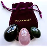 Yoni Eggs 3-pcs Set of 3 Gemstones, Drilled, with String & User Instructions, Made of Nephrite Jade, Rose Quartz and Black Obsidian, L/M/S 3 Sizes for Training Love Muscles as Kegel Exercisers