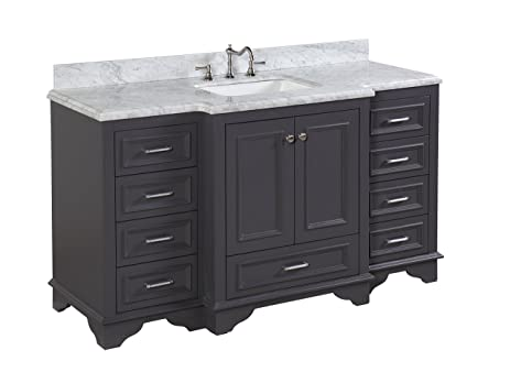 Kitchen Bath Collection KBC12601GYCARR Nantucket Single Sink Bathroom  Vanity With Marble Countertop, Cabinet With Soft