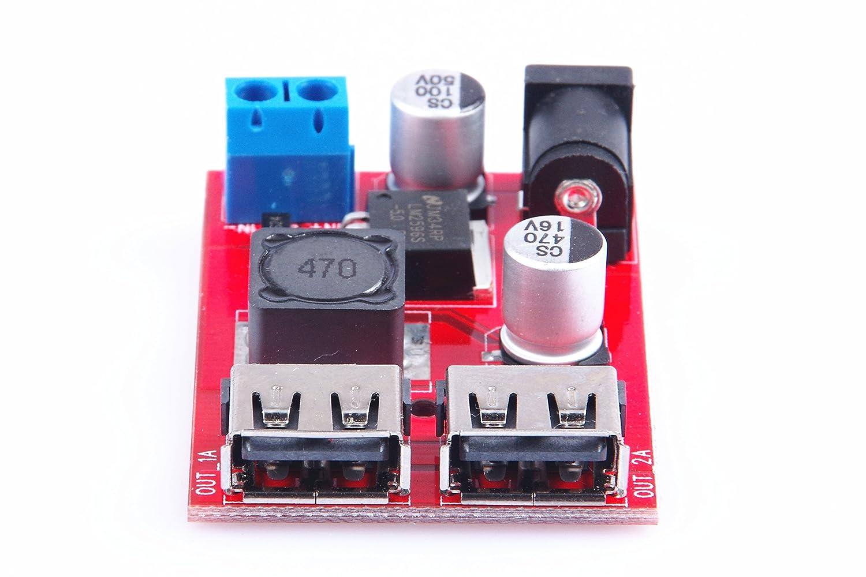 KNACRO DC-DC Converter Buck Step Down Module 36V 24V 12V 9V to 5V 3A Dual USB Output Car charger Regulators 4350281131 6V-40V