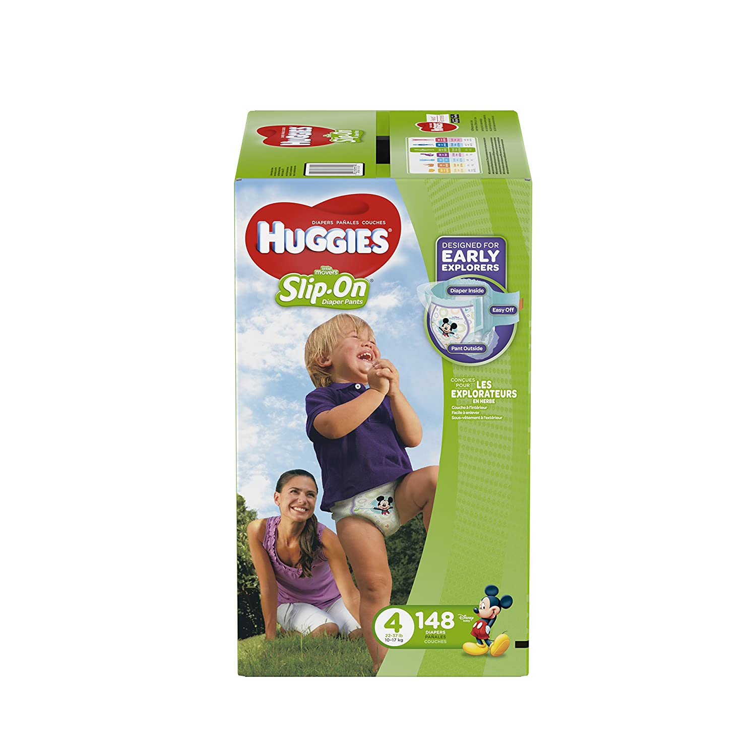 HUGGIES Little Movers Slip On Diaper Pants, Size 5, 128 Count, ECONOMY PLUS (Packaging May Vary) 10036000373025