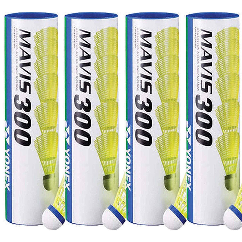 Yonex Mavis 300 Nylon Shuttlecocks 1/2 Dozen (Yellow, 4 Tubes)