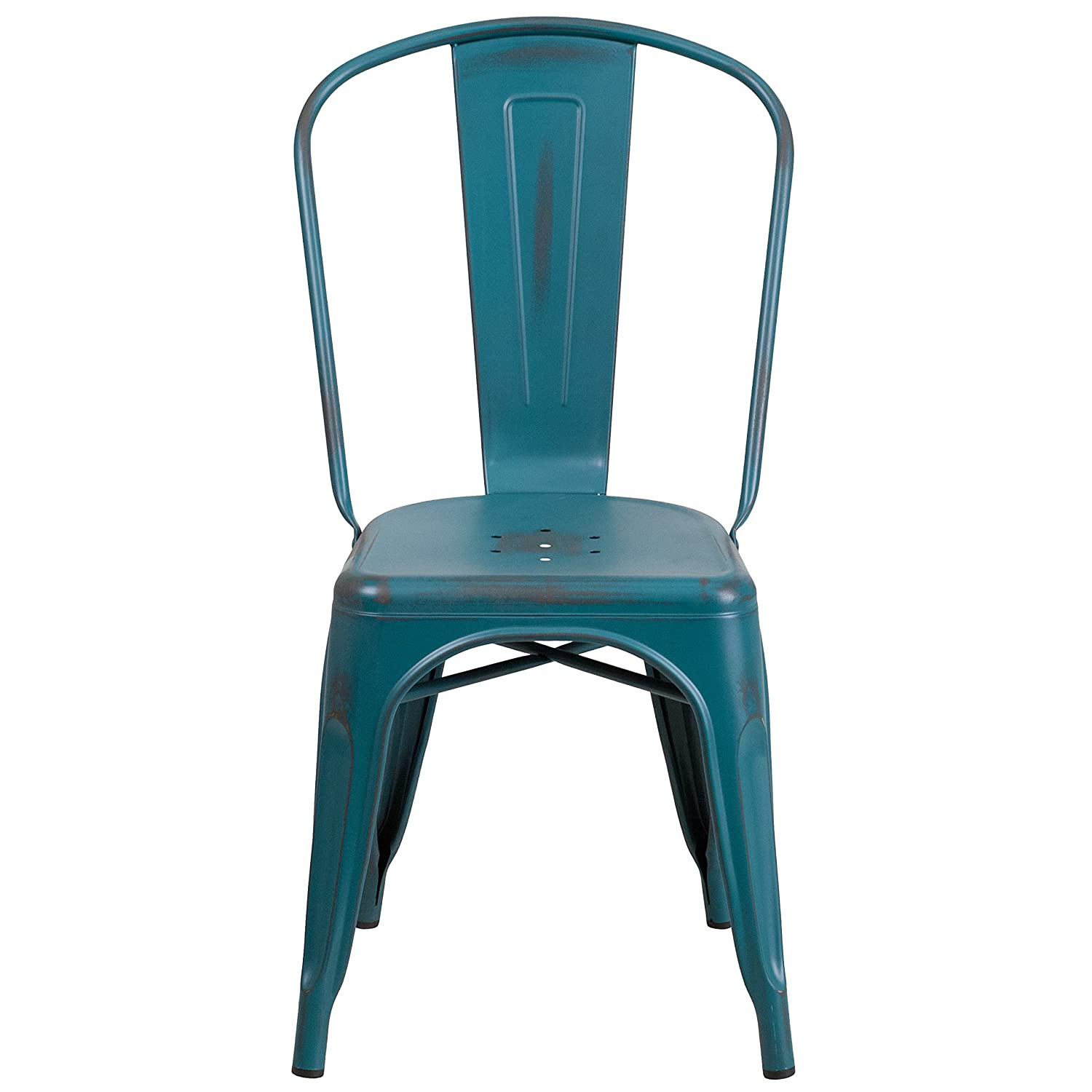 Amazon.com: Flash Furniture Distressed Kelly Blue Teal Metal Indoor Outdoor  Stackable Chair: Kitchen U0026 Dining