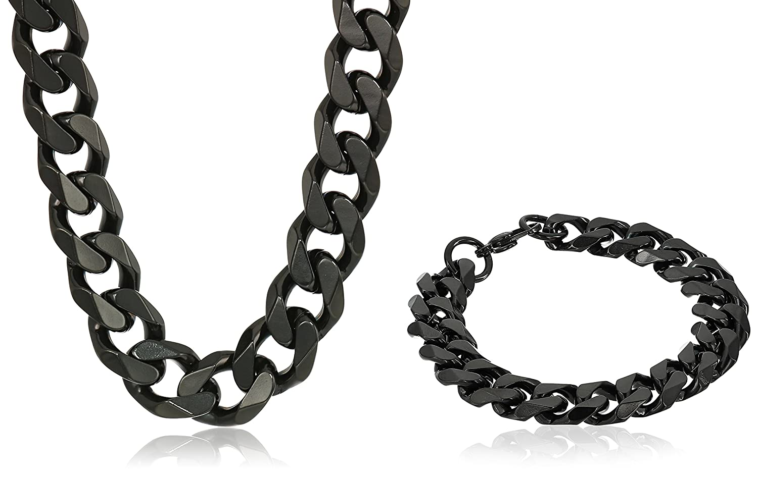 a639732cb86a2 Crucible Jewelry Mens Black IP Stainless Steel Cuban Curb Chain ...
