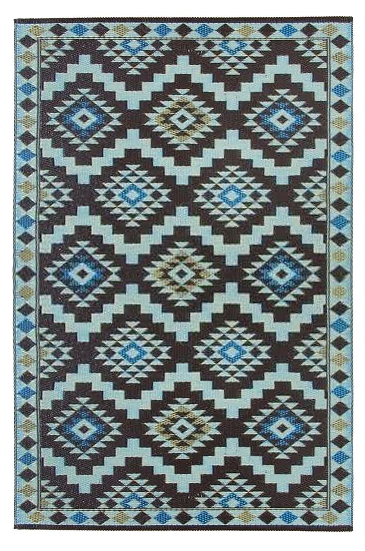 Grün Decore Kunststoff-Teppich für den Außenbereich, Farben  Königliches Kaffeebraun Hellblau Hellgelb – 120 x 180 cm