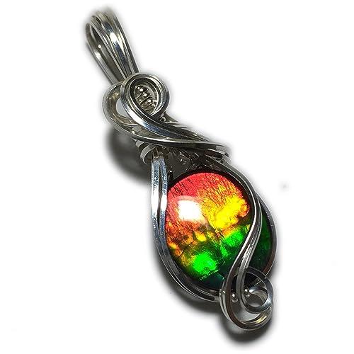 e1144a6a2841b6 Amazon.com: AMMOLITE PENDANT, Rainbow, Sterling Silver, Crystal ...