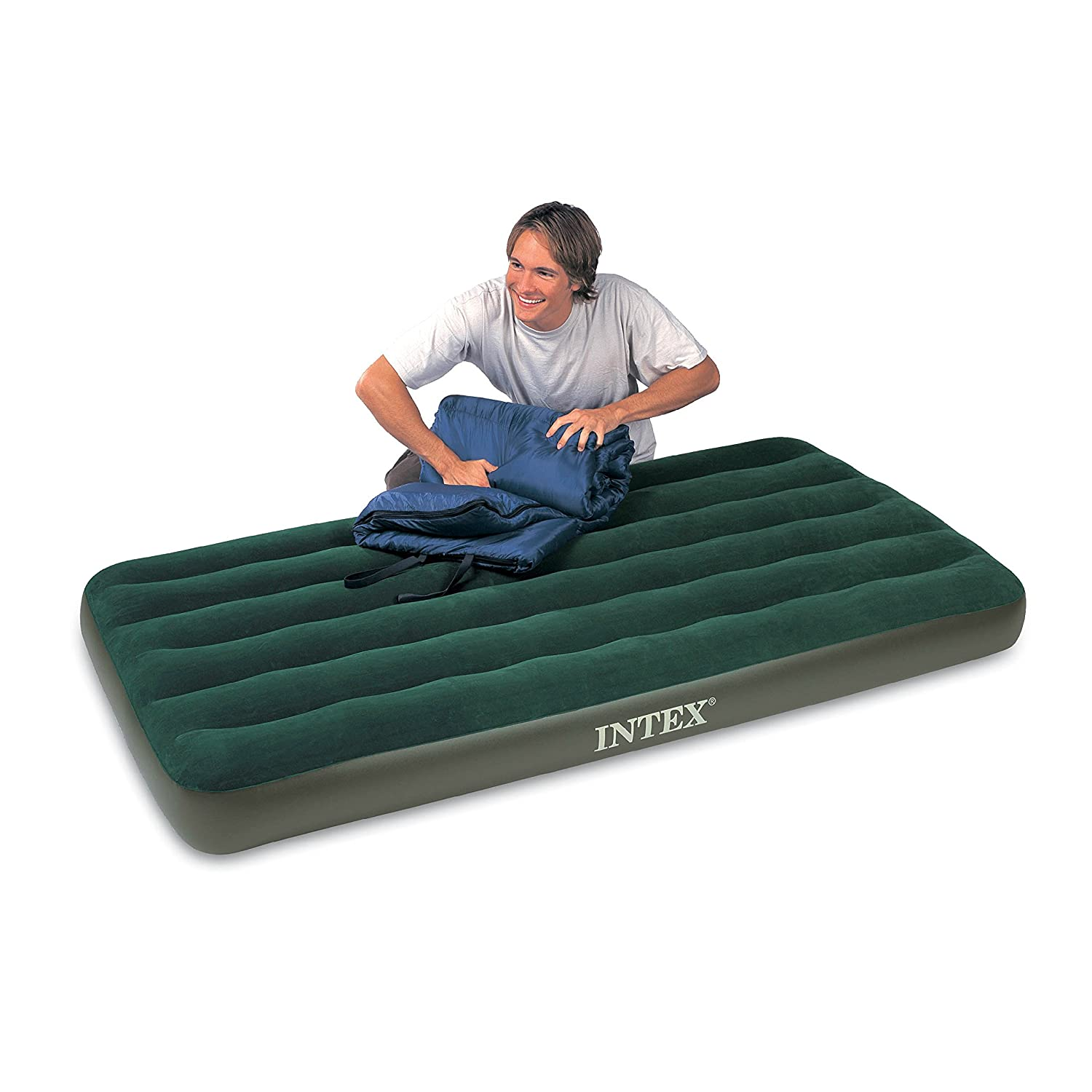 Fabulous Amazon Intex Prestige Downy Airbed Kit with Hand Held Battery Pump Twin Camping Air Mattresses Sports u Outdoors