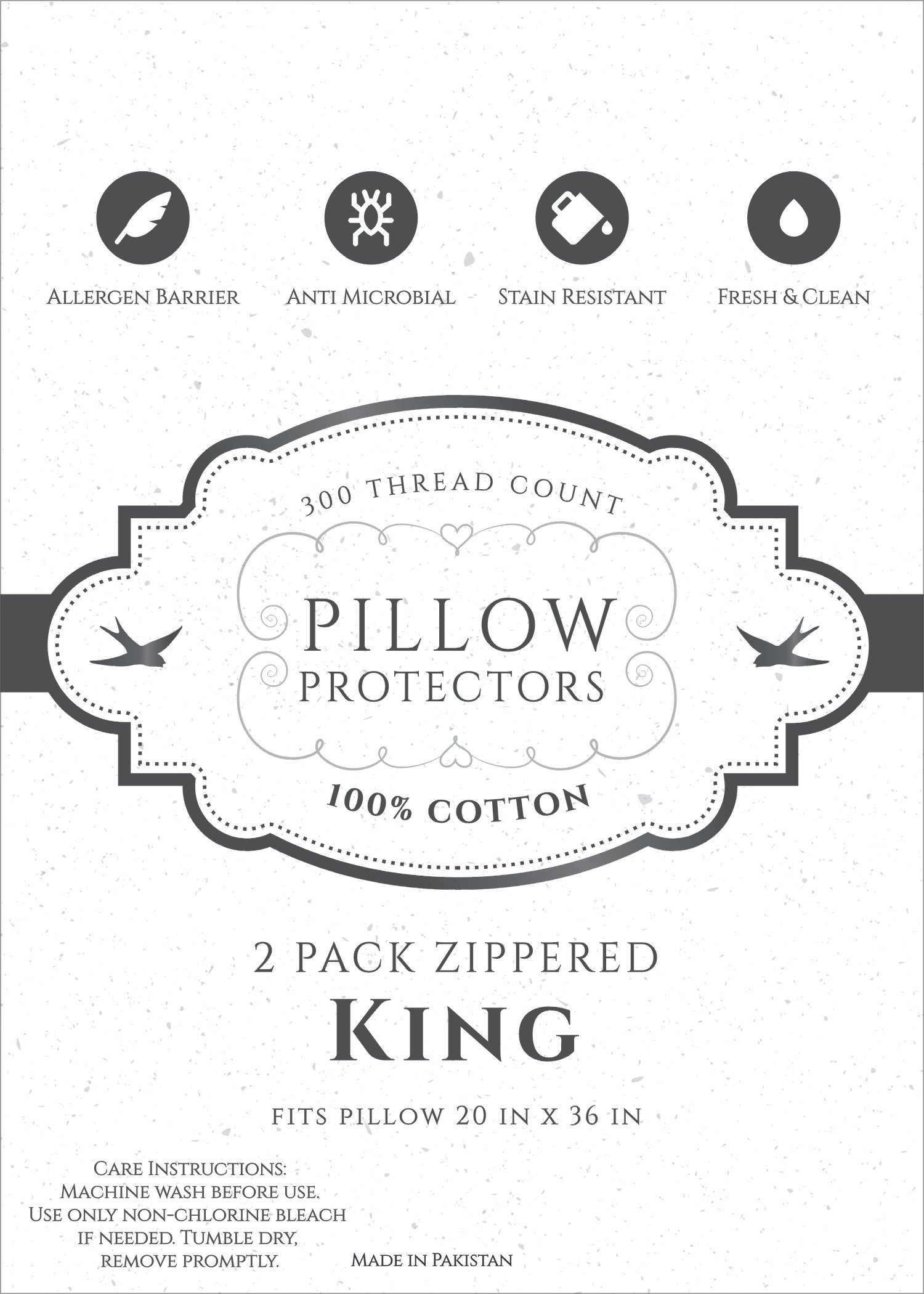 Home Fashion Designs 8-Pack 100% Cotton Allergy Control Pillow Protectors. Hypoallergenic Dust Mite & Bed Bug Resistant 400 Thread Count Zippered Pillow Covers. Lifetime Replacement (King) by Home Fashion Designs (Image #4)