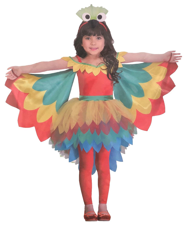 Brandsseller M/ä dchen Kost/ü m Verkleidung Fasching Karneval Party Papagei S 4-6 Jahre