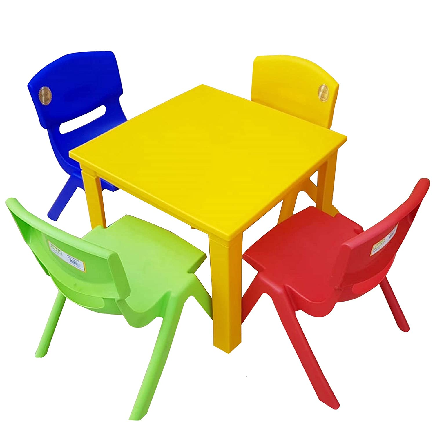 Strong Kids Children Table and Chairs Set for Study, Activity Garden Indoor (Yellow Table + 4 Chairs Mix) A406