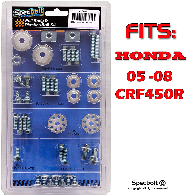 2005-2008 #04 CRF450R Specbolt Fasteners Full Body /& Plastics Honda Bolt Kit