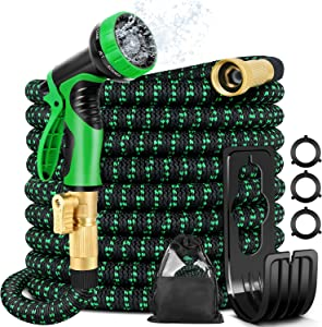 25ft Expandable Garden Hose - Flexible Water Hose with 10 Function Nozzle, 3/4 Solid Brass and Extra Strength 3750D Durable, Leakproof Lightweight Hose for Watering Flowers, Lawn, Cleaning