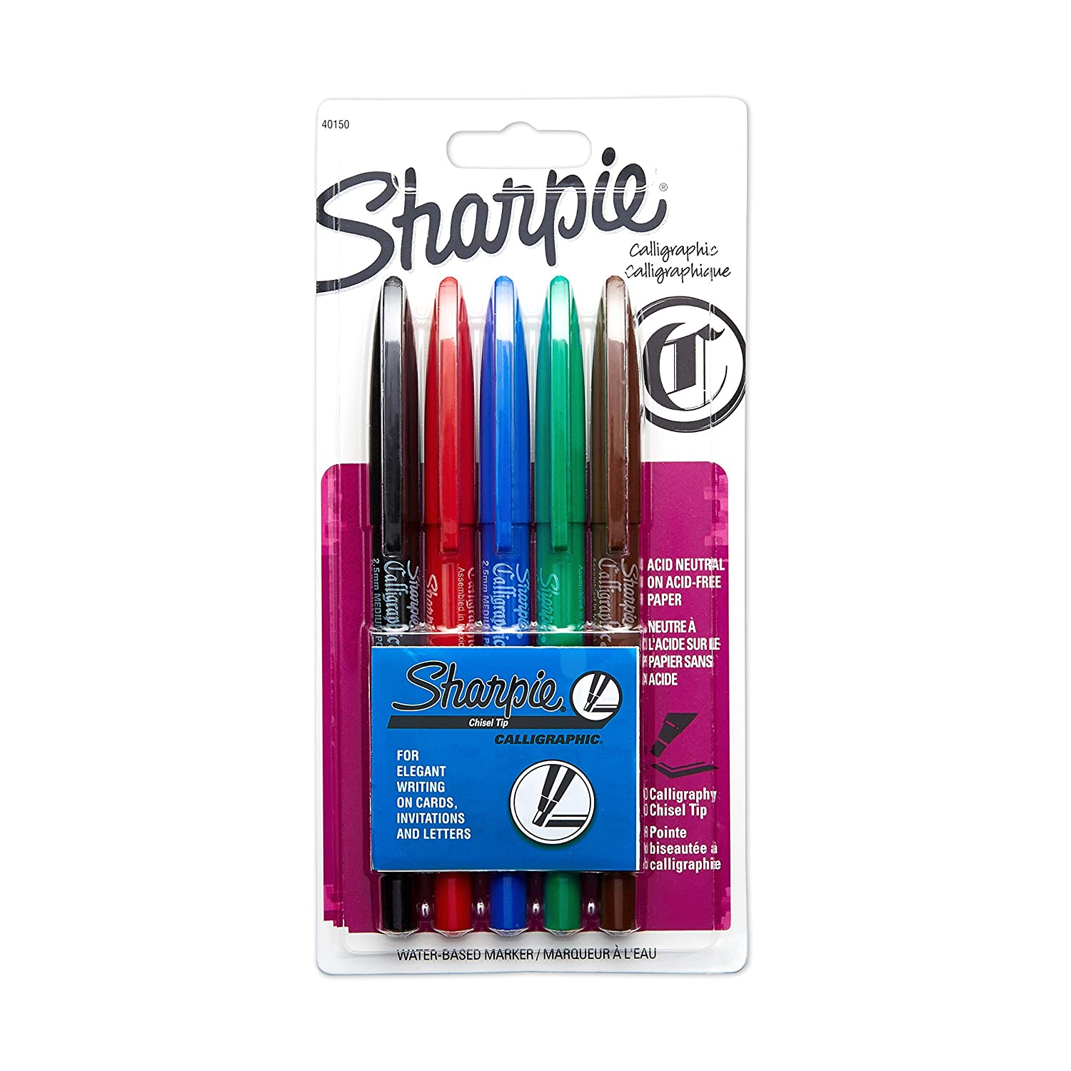 Amazon.com : Sharpie Sharpie Calligraphic Chisel Tip Water Based Markers  (40150SH) : Calligraphy Pens : Office Products