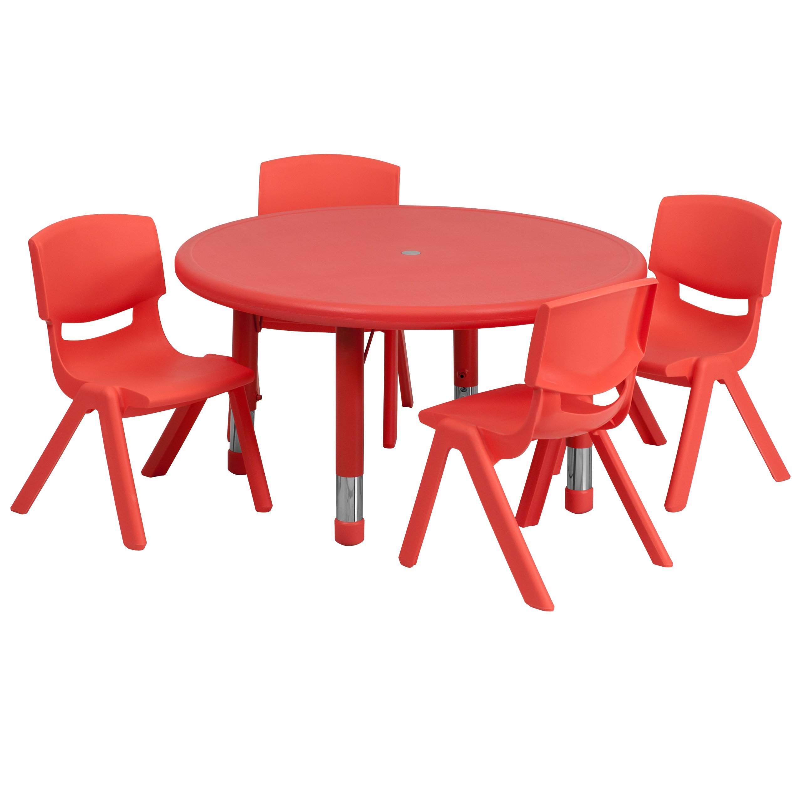 Flash Furniture 33'' Round Red Plastic Height Adjustable Activity Table Set with 4 Chairs