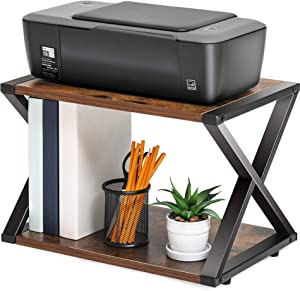 FITUEYES Desktop Printer Stand 2 Tiers Wood Desk Organizer Storage Book Shelf with Skid Pads for Home and Office, DO204501WG