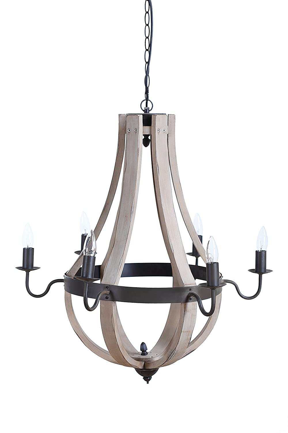 amazoncom creative co op wood and metal chandelier with 6 lights 27 round by 27 height home kitchen amazing wooden chandelier