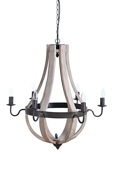 Amazon creative co op wood and metal wine barrel style amazon creative co op wood and metal wine barrel style chandelier 27 round by 27 height home kitchen aloadofball Image collections