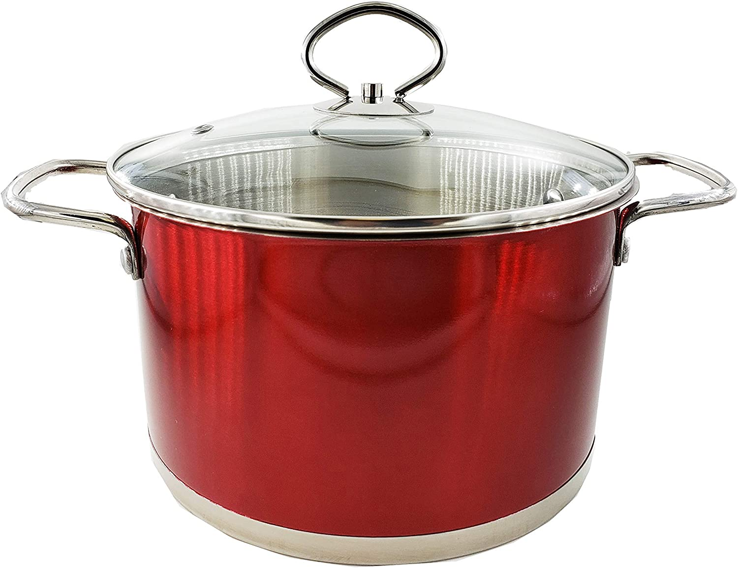 Stainless Steel 3QT Red Soup Pot with Glass Lid