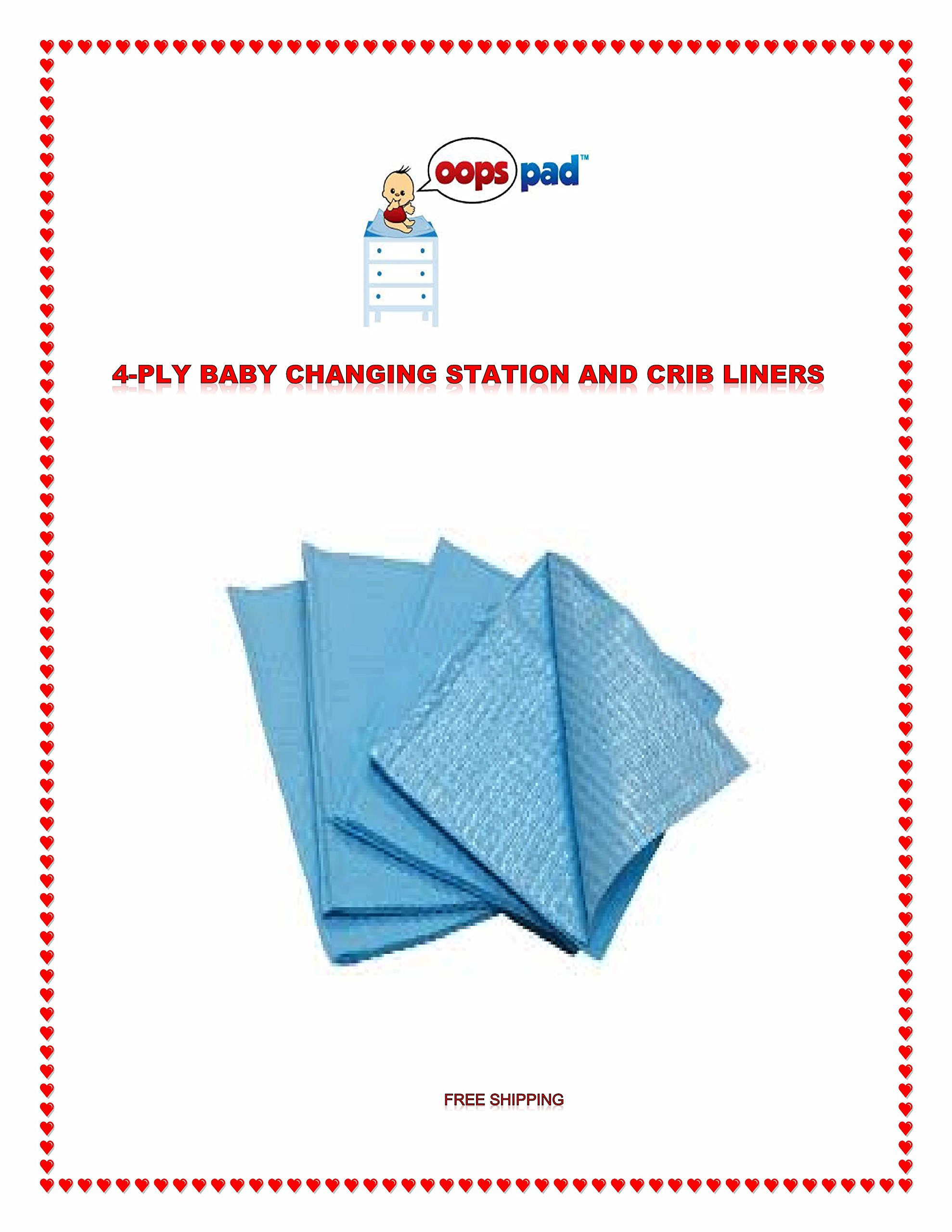 Oops Pad 4-Ply Blue Changing Station Table Liners 250ct FREE SAMPLES by Oops Pad