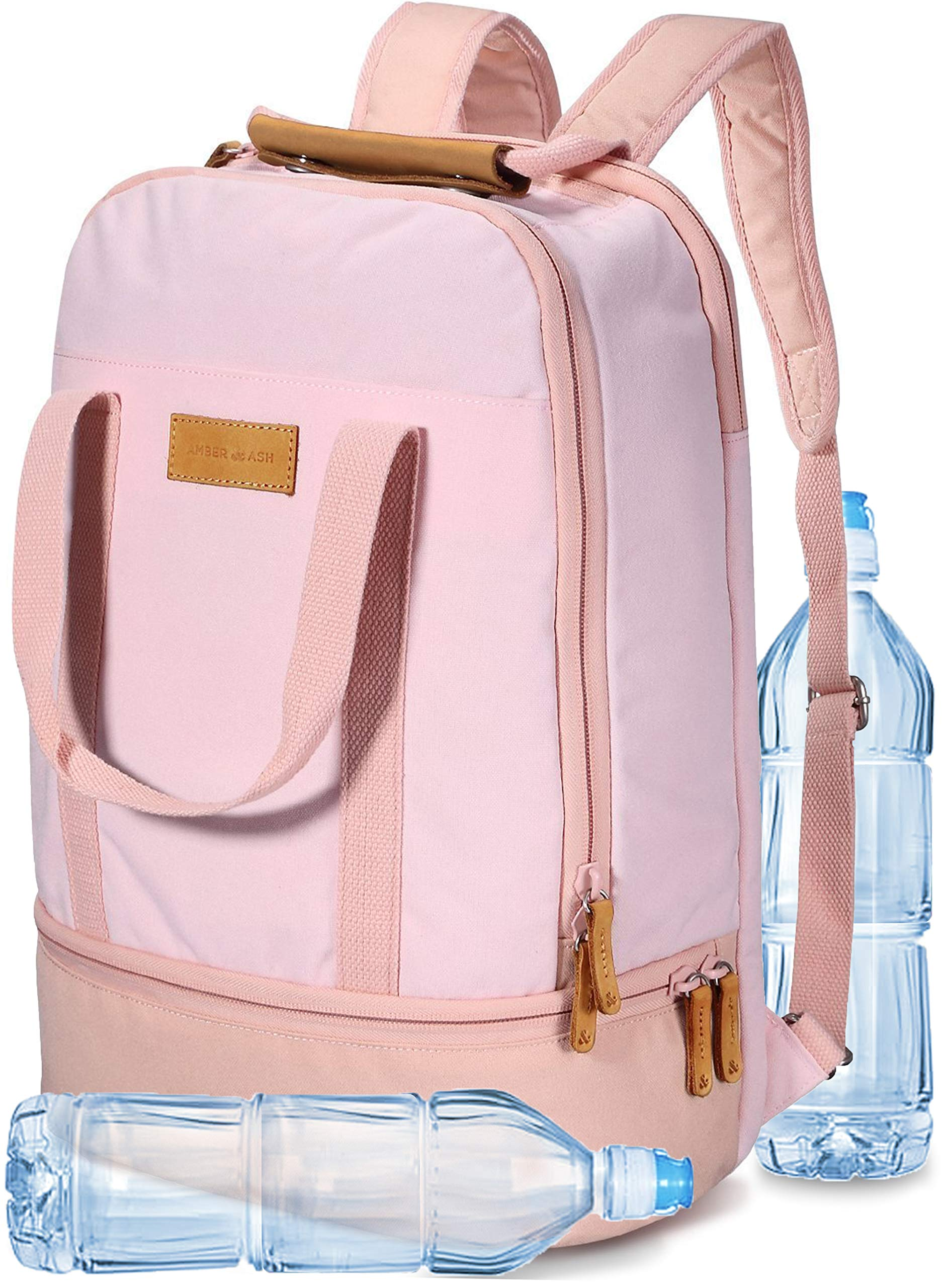AMBER & ASH Laptop School Backpack, Business Travel Anti Theft Slim Durable Water Resistant Comuter College Bag Strap Pattern for Women Men 15.6 Inch Laptop Notebook [Pink]